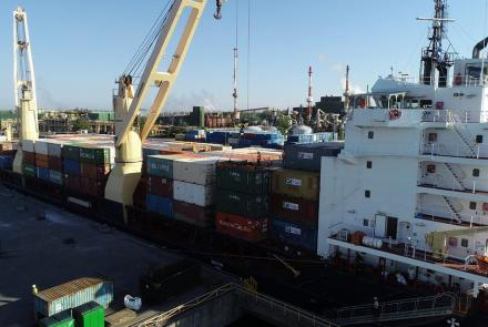 A full vessel of containers arriving in Valleyfield from the Mary River Mining project in Milne Inlet.